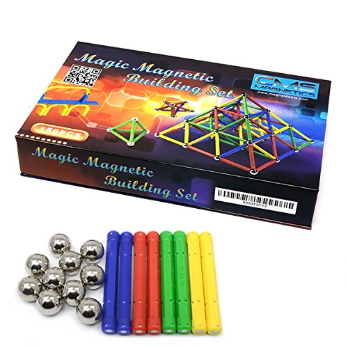 CMS MAGNETICS 156 Piece Magnetic Building Set with 96 Magnet Sticks and 60 Steel Balls - Brain Toys, Family Fun for All Ages