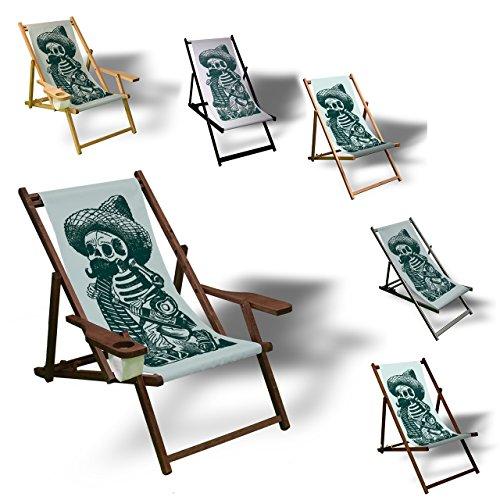 Printalio - Comic Charactere - Liegestuhl Bedruckt Balkon Garten Sonnenliege Relax Holz Terrasse | Kinderliegestuhl, Dunkelbraun