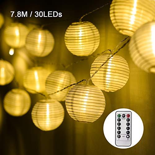 EKKONG Led Lichterkette,Verbesserte Version mit Fernbedienung und Timer, Lampion 30LEDs 7.8m Laterne Wasserdichte Gartenbeleuchtung, Batteriebetrieben (Warmweiß)