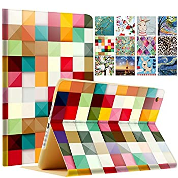 DuraSafe Cases For iPad Mini 3 2 1 Generation 7.9 Inch A1599 A1600 A1489 A1490 A1491 A1432 A1454 A1455 Printed Folio Magnetic Smart Protective Sleek & Classic Design Cover - Color Grid