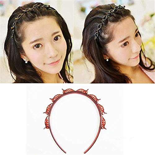 Double Bangs Hairstyle Hairpin, Women HeadBands Cute Beauty Fashion Hair bands Girls Vintage Hair Bands (Brown)