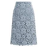 Falda de mujer de terciopelo de encaje hasta la rodilla de cintura alta de...
