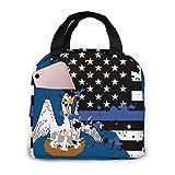 Bolsas de almuerzo aisladas de Louisiana con bandera de línea azul fina de EE. UU. Para mujeres y hombres, lonchera portátil para almuerzo, bolsa para el trabajo, Sch