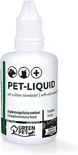 GreenPet Anti Wurm Pet Liquid Tropfen Flüssig - vor, bei & nach Wurmbefall, Hunde, Katze, Hühner, Vögel, Kaninchen & Haustiere, Vegan ohne Chemie, Hohe Akzeptanz, Natürliche Wurmkur Alternative 50ml