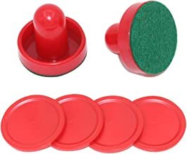 MUZOCT Great Goal Handles Pushers Replacement Accessories for Game Tables - 2 Red Air Hockey Pushers and 4 Red Pucks for Children
