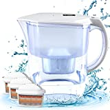 BU-KO Jarra de Agua alcalina DE 3,5 litros, Ionizador de Agua Pura y Saludable, 3 Cartuchos de Filtro incluidos, PH Test Strip BPA (Blanco)