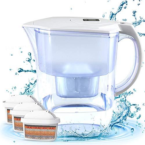 BU-KO Brocca per Acqua alcalina 3,5 Litri, ionizzatore dell'Acqua salubre e 3 cartucce di Filtro Incluse, Striscia per Test PH BPA (Bianca)