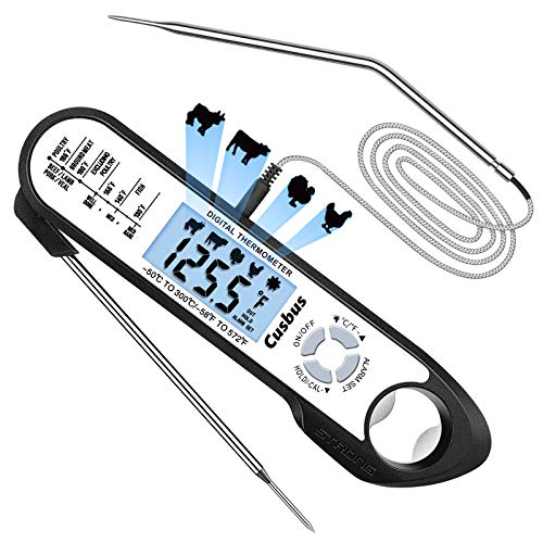 Cusbus Digital Meat Thermometer for Cooking 2 in 1 Waterproof Instant Read Food Thermometer Oven Safe Cooking Thermometer with LCD Backlight Alarm Set and Magnet for Grill Kitchen BBQ Roast Turkey
