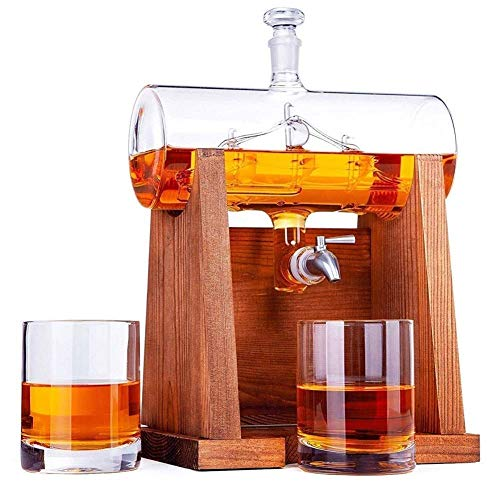 DBWIN Decantador de Whisky casero, Decantador de Vino Blanco de 1000 ml con 2 Vasos de Whisky 300 ml - dispensador de Grifo de Acero Inoxidable para Juego de Vasos de Brandy de Tequila y Vino de r