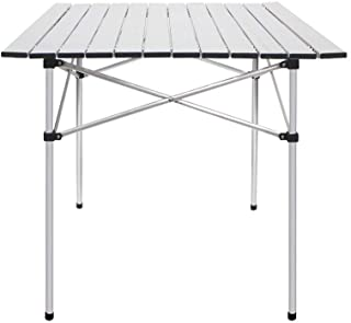 Joyhome Roll Up Portable Aluminum Folding Camping Square Tables PicnicTable for Outdoor Camping Hiking Lightweight Picnic ...