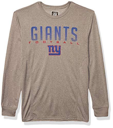 NFL Ultra Game New York Giants Long Sleeve Crew Neck Tee Shirt, Large, Heather Gray