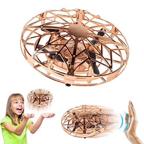 YDKJ Mini Drone UFO Flying Aircraft Toys, Interactive Hand Controlled Flying Ball Helicopter, Pocket Quadcopter, 360° Rotation, Shining LED Lights, Kids Adults