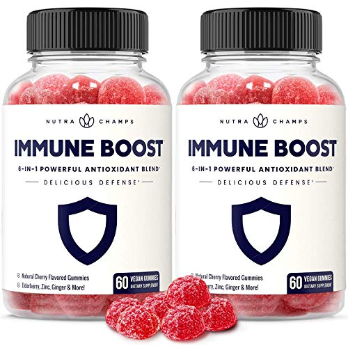 (2-Pack) Immune Boost Gummies for Kids & Adults - Powerful Immune Defense 6-in-1 Immunity Booster Support - Elderberry, Vitamin C, Zinc, Echinacea, Ginger - Vegan Gummy Vitamin Supplement, Cherry
