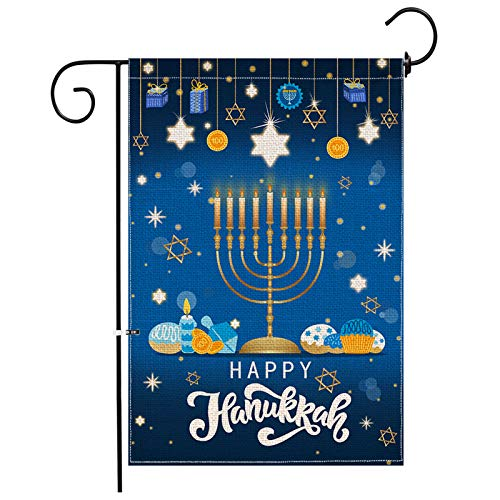 Hexagram Happy Hanukkah Garden Flag Double Side,Hanukkah Menorah Banner Decorations Holiday Outdoor Winter Size 12 x 18Inch