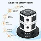 Extension Plug Tower, bedee Surge Protected Extension Lead with USB Slots, Tower Power Strip with 10W Wireless Charging, 3 USB Slots and 8 Way Outlets, 3M Extension Cord