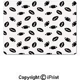 ELIST 25X30cm Tapis de Souris de Jeu, Motif Monochrome avec des Ballons de Rugby Noirs Culture américaine Sports Play Tapis de Souris en Caoutchouc antidérapant