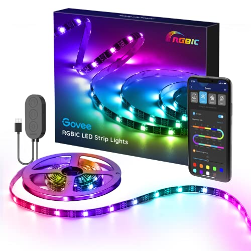 Ruban à LED USB, Govee 2M Magic 5050 Dream Couleur Bande Led Musique Rétroéclairage TV, Microphone Intégré et avez IC, Contrôler par APP, Bande Lumineuse Décoration pour TV, Miroir, Ordinateur, etc.