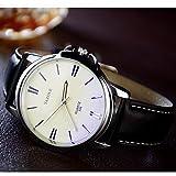 Sports Watches Relojes de Hombre YAZOLE Hombre Reloj de Pulsera Reloj de Vestir Cuarzo/Reloj Casual Piel Banda Casual Negro Marrón Relojes de Mujer (Color : Marrón)