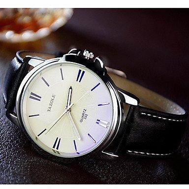 XKC-watches Herrenuhren, YAZOLE Herrn Armbanduhr Kleideruhr Quartz/Armbanduhren für den Alltag Leder Band Freizeit Schwarz Braun (Farbe : Braun)