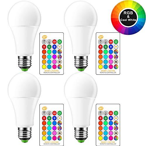 OurLeeme Farbige Leuchtmittel Dimmbar, E27 15W RGB 16 Farbe Fernbedienung Energy Saving Glühbirne für Hausdekoration Bar Party KTV Bühne (Batterie nicht enthalten) (4PCS, RGBW KaltesWeiß)