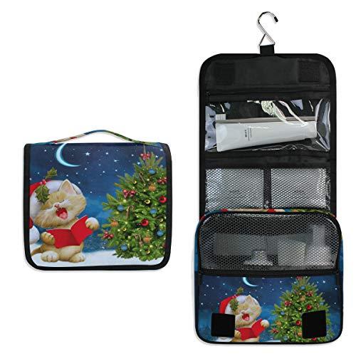 Neceser de Viaje con diseño de árbol de Navidad para Gatos, Bolsa de Maquillaje multifunción, Bolsa de Almacenamiento portátil para Mujeres y niñas