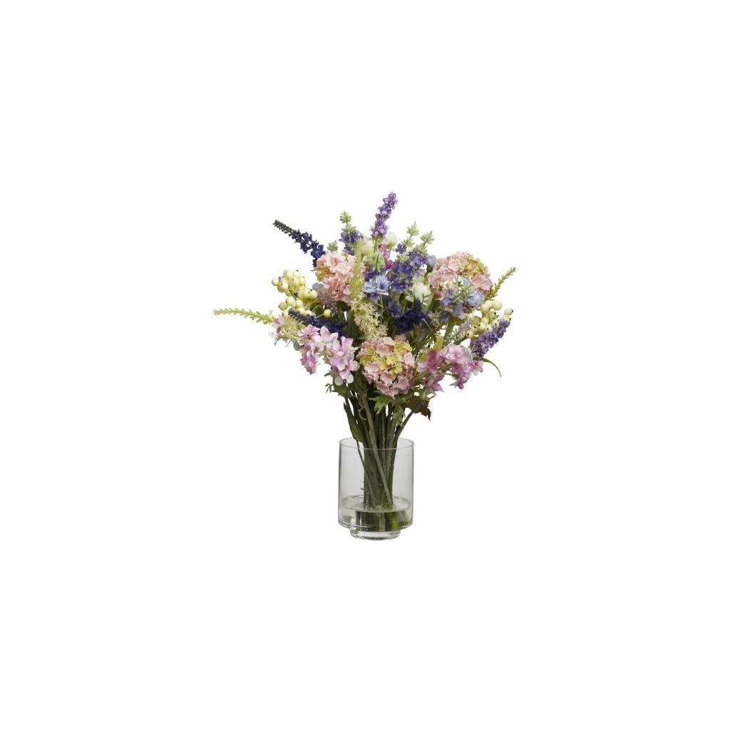Nearly Natural 4760 Lavender and Hydrangea Silk Flower Arrangement, Mixed,15.5″ x 6.75″ x 6.75″