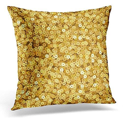 Asekngvo Funda de Almohada Decorativa Amarillo Abstracto Dorado Lentejuelas Brillantes de Lujo Fiesta de Discoteca y Purpurina Glamour Brillante