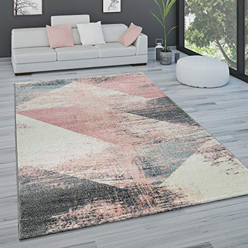 Paco Home Teppich Wohnzimmer Kurzflor Pastell Vintage Look Abstraktes Muster Versch. Styles, Grösse:160x230 cm, Farbe:Mehrfarbig