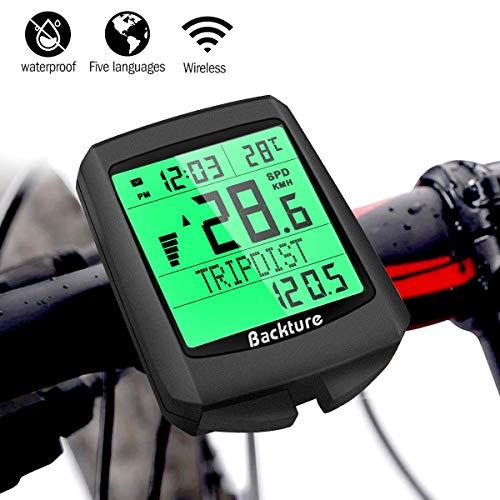 BACKTURE Cuentakilómetros para Bicicleta, 5 Idiomas Impermeable Computadora de Bicicleta, Velocímetro inalámbrico Bicicleta con Pantalla LCD de Retroiluminación para Ciclismo Speed Track Distancia
