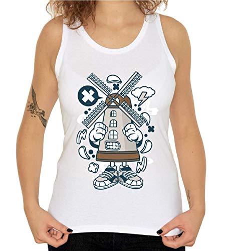 Cartoon Stijl Windmolen Boerderij Meel Brood Vrouwen Tank Top T-Shirt