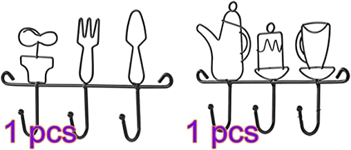 TOPBATHY 2pcs Wrought Iron Key Holder for the Wall Hat Towel Leash Jewelry and Keys Rack Wall Hangers Rustic Farmhouse Wal...