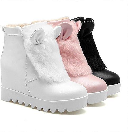 ZHRUI botas para mujer - botas Antideslizantes cálidas para la Moda Occidental botas Planas de algodón para mujer botas para mujer Mayores 34-43 (Color   blancoo, tamaño   38)