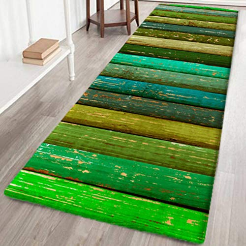 Wingbind Bereich Teppich Rutschfeste Große Türmatte Grüne Wiese Gemusterte Teppichbodenmatte Treppenauflagen für Wohnzimmer Schlafzimmer Flur Küche, 2x6ft