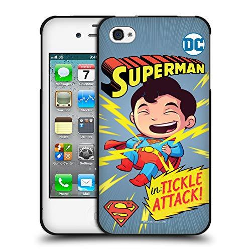 Head Case Designs Ufficiale Super Friends DC Comics Superman 2 Bambini Copertine Cartoni Animati Cover Nera in Morbido Gel Compatibile con Apple iPhone 4 / iPhone 4S