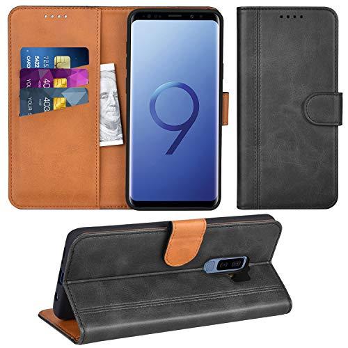 Adicase Galaxy S9 Plus Hülle Leder Wallet Tasche Flip Case Handyhülle Schutzhülle für Samsung Galaxy S9 Plus (Dunkelgrau)
