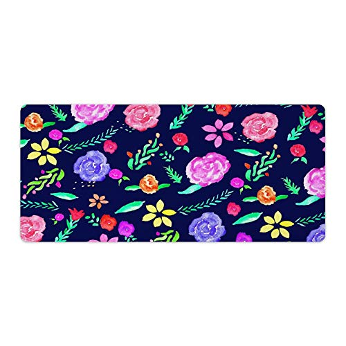 Gaming Mouse Pad Boho Watercolor Botanical Floral Pattern Navy Blue Art Desktop and Laptop 1 Pack 750x400x3mm/29.5x15.7x1.1 in