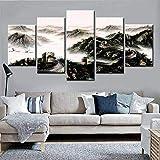 JIUGE 5 Panel Wandkunst 5 Panels Chinesische Chinesische