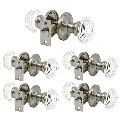5 Pack Keyless Passage Door Knobs(Unlocking Interior Door Knob Sets), Crystal Glass Door Handles for Hallway/Closets, Octagon Diamond Shape in Modern/Superb Design-Satin Nickel Finish