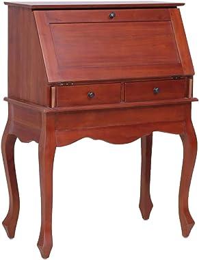 vidaXL Madera Maciza Caoba Escritorio Tipo Secreter Oficina Diseño Elegante Moderno Estable Práctico Decorativo Duradero Robu