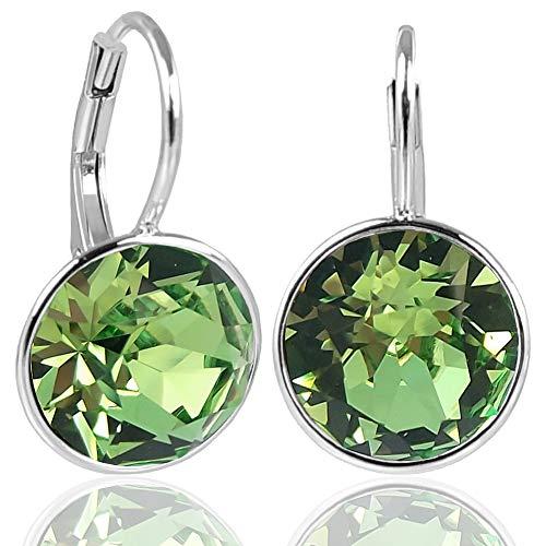 NOBEL SCHMUCK Silber-Ohrringe mit Kristallen von Swarovski® 925 Sterling Silver - Peridot