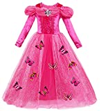 Le SSara Langarm Mädchen Prinzessin Cosplay Kostüme Fancy Schmetterling Kleid (110, L-rose red)