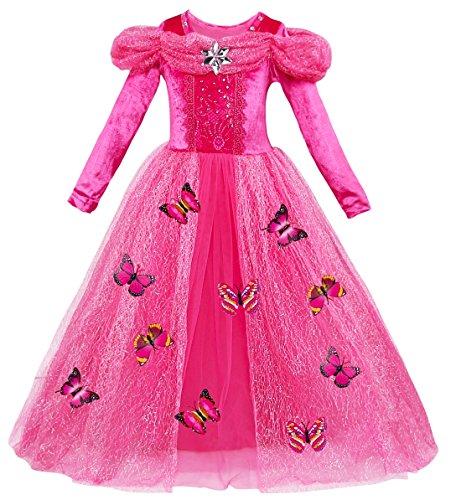 Le SSara Langarm Mädchen Prinzessin Cosplay Kostüme Fancy Schmetterling Kleid (130, L-rose red)