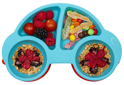 Novos Silicone Suction Plate for Toddlers, Fits Most Highchair Trays, BPA Free, Divided Baby Feeding Bowls Dishes Placemat for Babies Kids