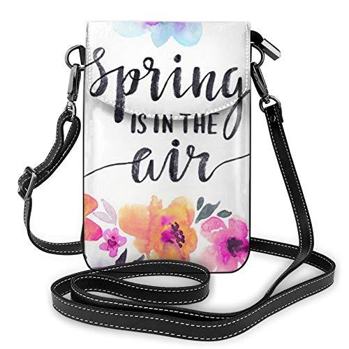Bolso ligero de piel sintética para teléfono celular, Spring Is In The Air Small Crossbody Bags para mujer, color Negro, talla Talla única