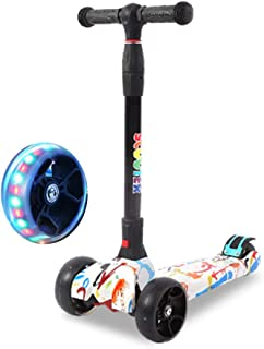 Jipemtra Scooters for Kids 3 Wheel T-bar Balance Riding Kick Scooters Foldable Height Adjustable LED PU Flashing with Graffiti for Kids Christmas Birthday Gift
