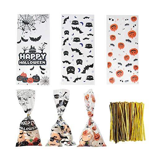 450PCS Halloween Sweet Bags Candy Bags Behandeln Sie Taschen mit Kürbissen, Fledermaus, schwarzer Katze und Happy Halloween -Mustern, 150PCS Gold Krawatten für Halloween Games Party