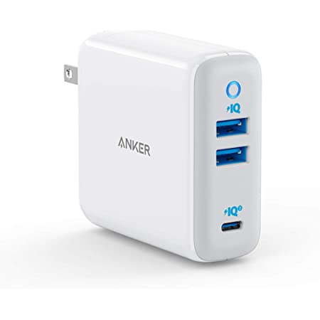 Anker PowerPort III 3-Port 65W(PD対応 3ポート USB-C 急速充電器)【PSE技術基準適合/Power Delivery対応/GaN(窒素ガリウム)採用/海外用 電源プラグ付属/PowerIQ 3.0搭載】iPhone、iPad、MacBook Air、Android各種、その他USB-C機器対応