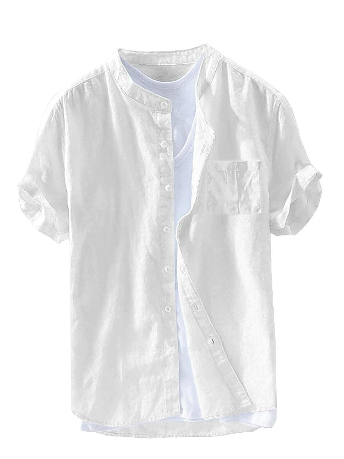 Beotyshow Mens Mandarin Collar Short Sleeve Shirts Casual Summer Linen Pullover Henley Shirt Plain Poplin Tops for Men