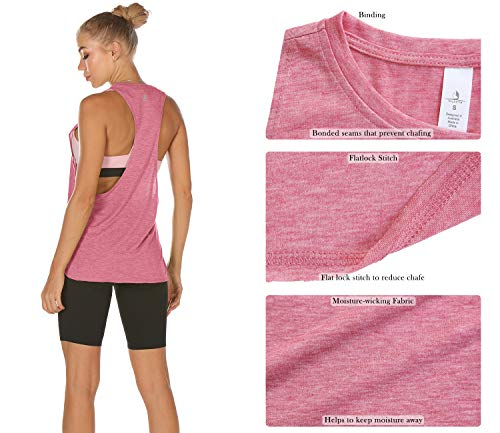 icyzone Workout Tank Tops for Women - Running Muscle Tank Sport Exercise Gym Yoga Tops Running Muscle Tanks(Pack of 3) (S, Army/Charcoal/Pink)