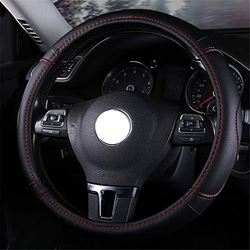 WD FXP Geruchlose Lenkradabdeckung, Sportmode Sommer Cooles Leder Atmungsaktiv Universal for Durchmesser 38cm (Color : Black2, Size : 38cm/14.96inch)